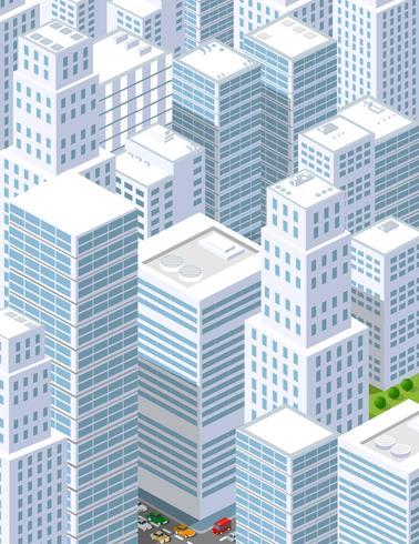 Een grote stad van isometrisch stedelijk vector