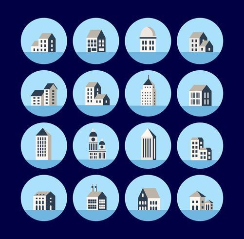 Pictogrammen van het gebouw. vector