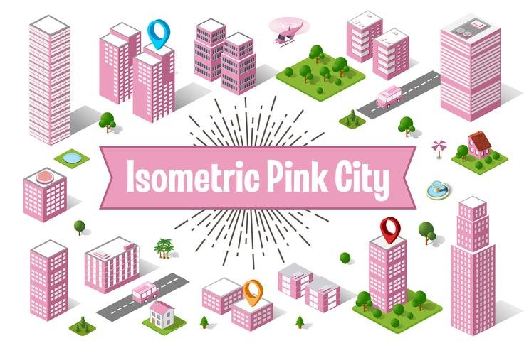 Stad roze wolkenkrabber vector