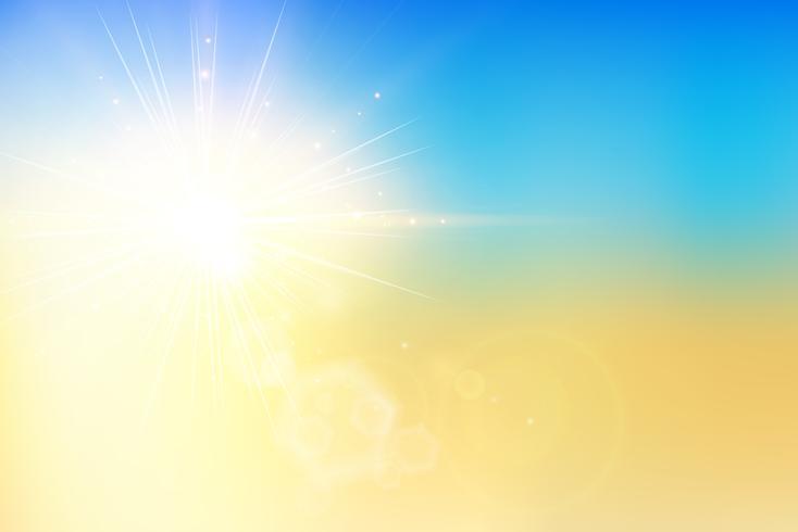 De zomerzonsondergang en hemel met bokehgloed op onduidelijk beeldachtergrond. vector