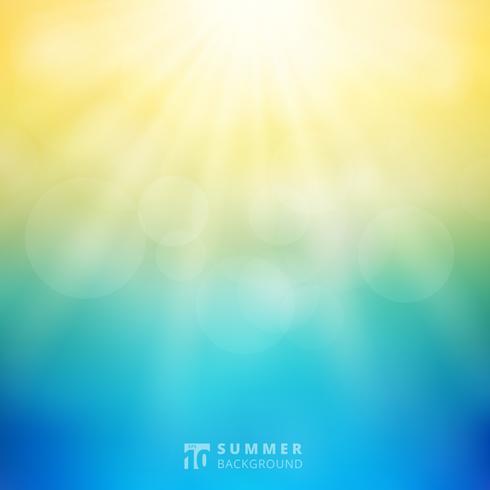 Zomerzonlicht met bokeh op de hemel vage achtergrond. vector