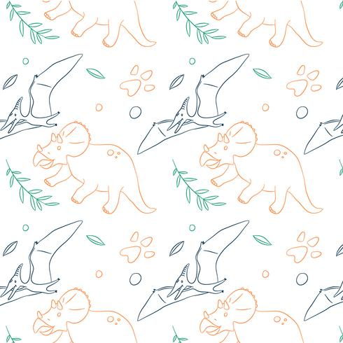 Hand getrokken dinosaurus patroon vector