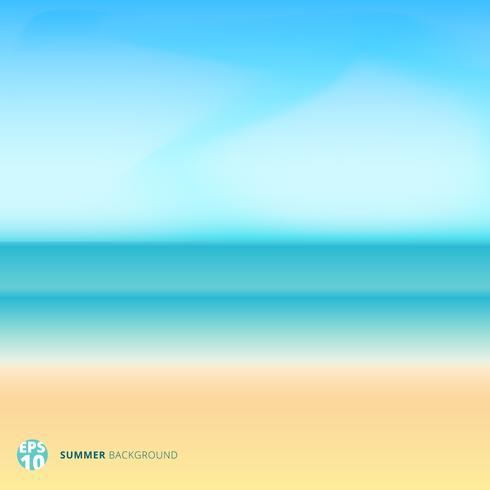 Zomer seizoen landschap wazig achtergrond met strand, zee. lucht en wolken. vector