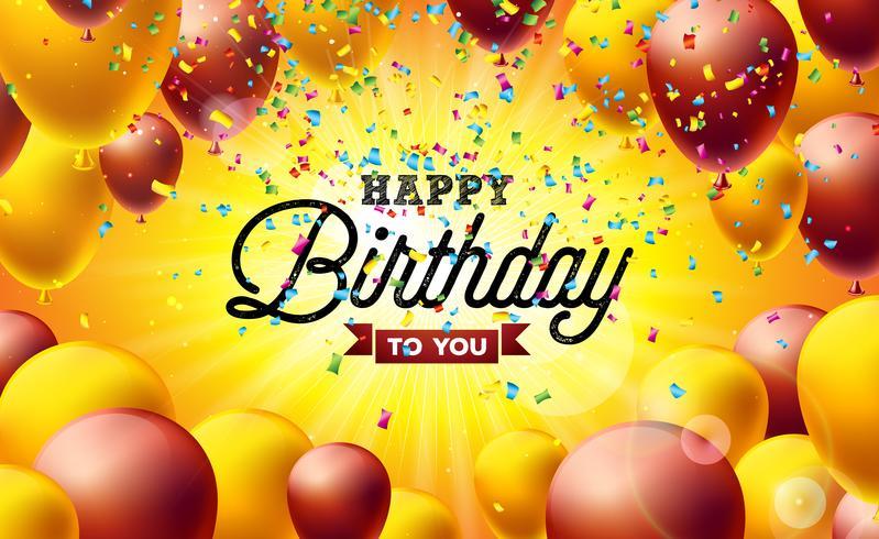 Gelukkige verjaardag vectorillustratie met ballonnen, typografie en kleurrijke vallende confetti op gele achtergrond. Ontwerpsjabloon vector