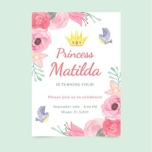 Aquarel prinses uitnodiging met bloem en vogels vector