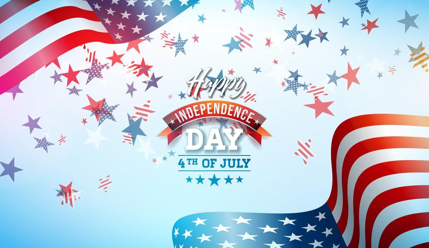 4 juli Independence Day van de VS Vector Illustratie. Fourth of July Amerikaanse nationale viering ontwerp met vlag en sterren op blauwe en witte Confetti achtergrond