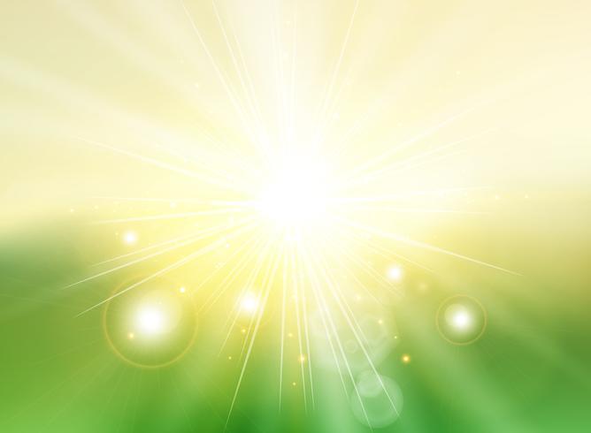 De hemel met de schemering van zonlichtstralen vertroebelde groen gradiënt abstract landschap als achtergrond. vector