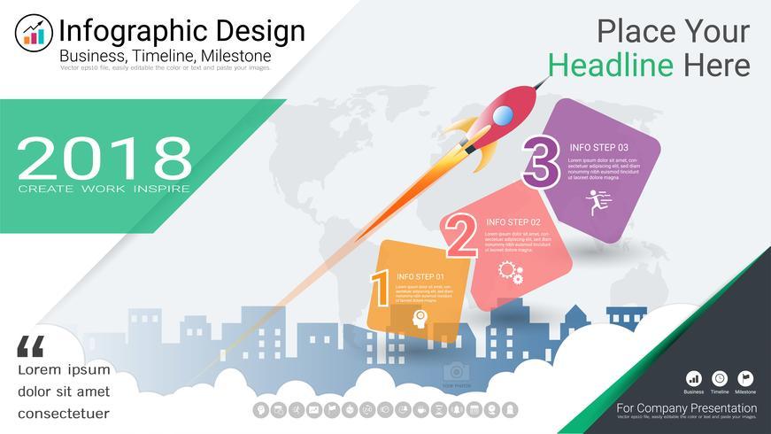 Zakelijke infographics sjabloon, mijlpaal tijdlijn of routekaart met proces stroomdiagram 3 opties vector