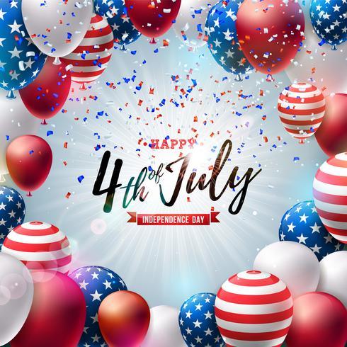 4 juli Independence Day van de VS Vector Illustratie. Vierde juli Amerikaanse nationale viering ontwerp met kleurrijke luchtballon en typografie brief op vallende confetti achtergrond
