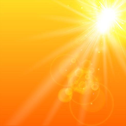 Zomer oranje achtergrond met zonlicht. vector