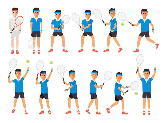 Tennissers, tennissportatleten in acties. vector