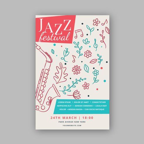 Aanbiddelijke muziekaffichemalplaatje met jazz en bloemen vector