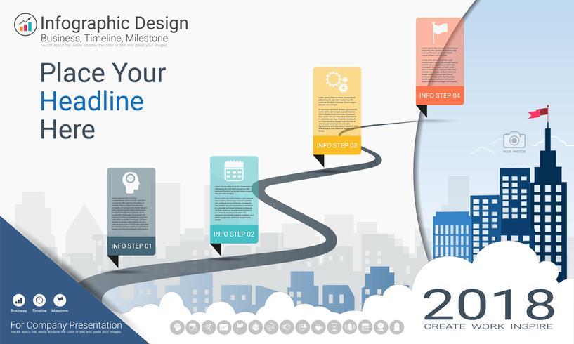 Zakelijke infographics sjabloon, mijlpaal tijdlijn of routekaart met proces stroomdiagram 4 opties. vector