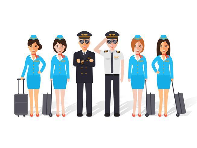 Piloten en stewardessen. vector