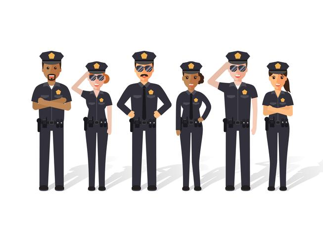 Politie mannen en vrouwen. vector