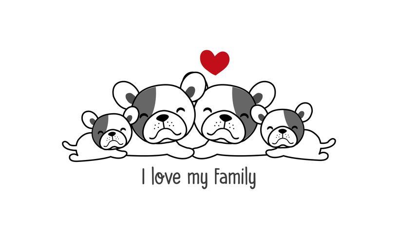 """De leuke gelukkige hondfamilie zegt """"ik houd van mijn familie"""". vector"""