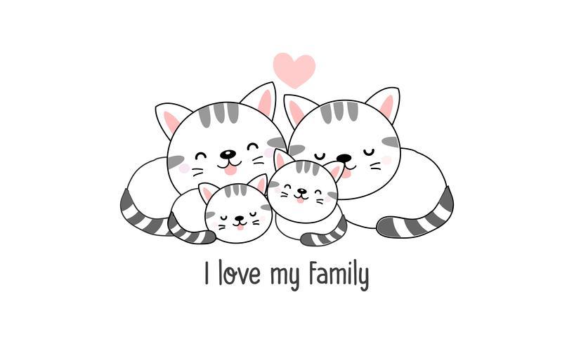 """De leuke gelukkige kattenfamilie zegt """"ik houd van mijn familie"""". vector"""