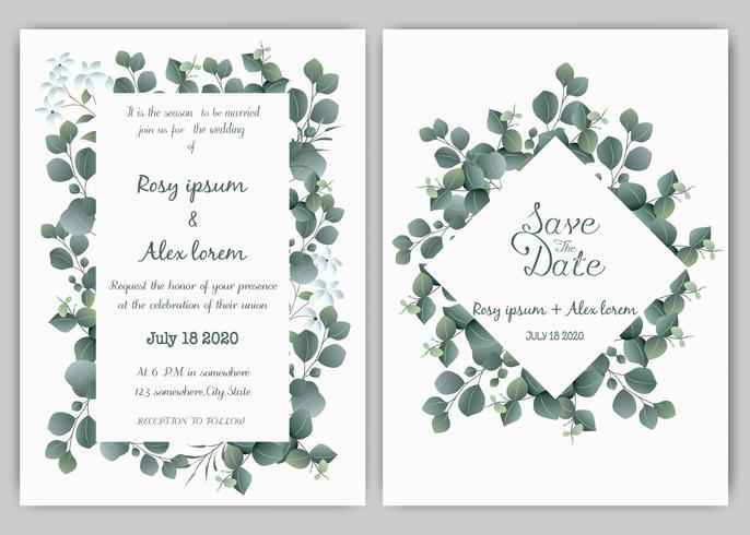 Groen bruiloft uitnodiging, sjabloon Eucalyptus bruiloft uitnodiging. vector
