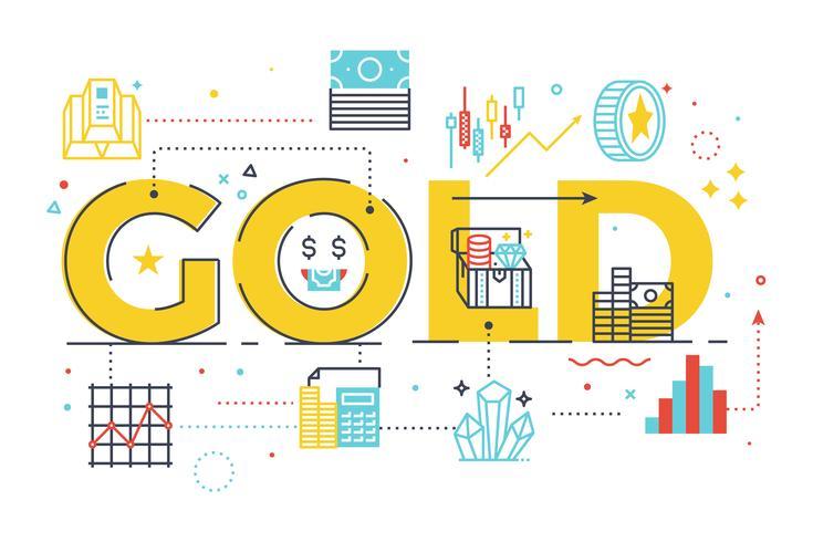 Gouden woord belettering illustratie vector