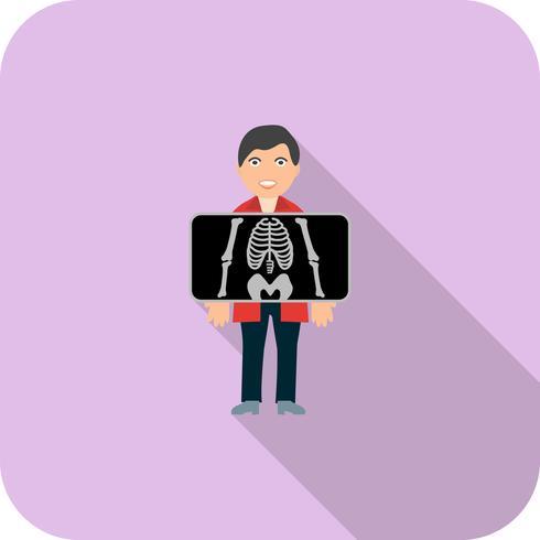 Borst X ray Flat lange schaduw pictogram vector