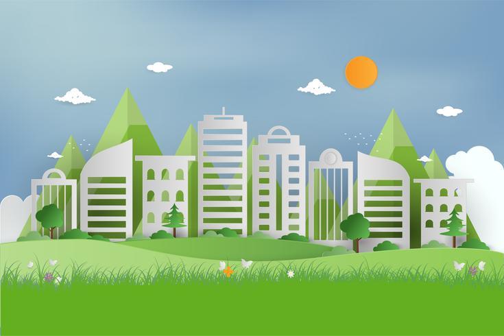 Aardmening van groen gras in tuin bij de zomer en openbaar park op stedelijke stad. origami concept en ecologie idee. stadsgezicht gebruiken als achtergrond en behang. vector