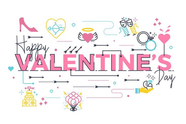Happy Valentijnsdag belettering vector