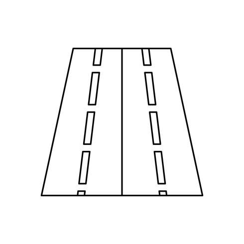 Twee richtingen weg lijn zwarte pictogram vector