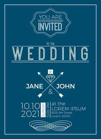 Vintage bruiloft uitnodiging kaartsjabloon vector
