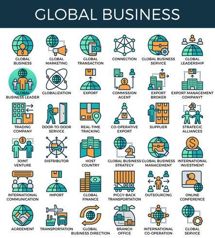 Globale bedrijfsconceptenpictogrammen vector