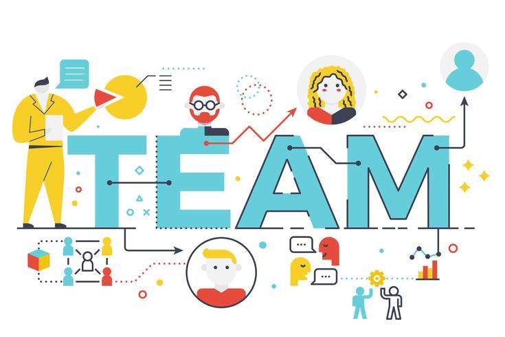 Team woord belettering illustratie vector
