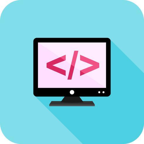 Codering op scherm Flat Long Shadow Icon vector