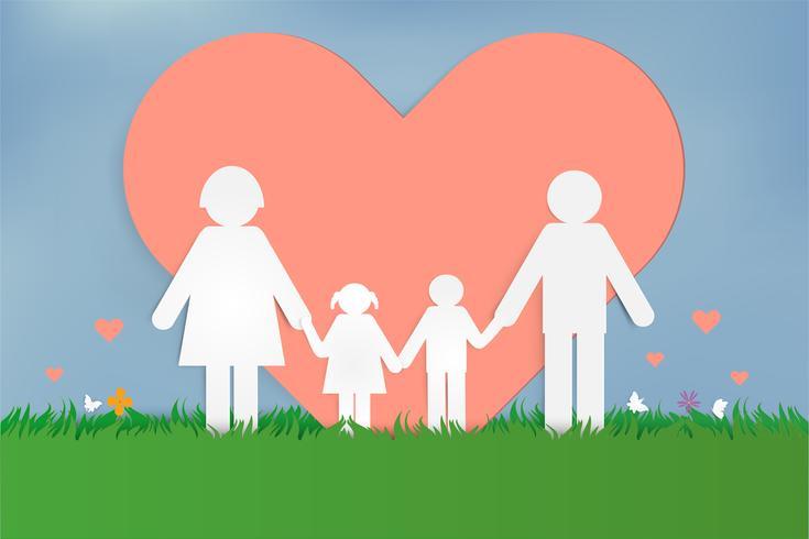 Gelukkige liefdesfamilie. Gelukkige ouderdag met vader, moeder en kinderen. Ontwerp van papieren kunst. vector
