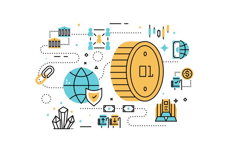 Bitcoin en financiënillustratie vector