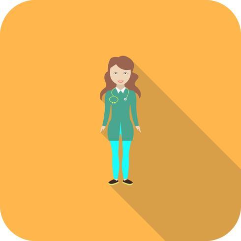 Verpleegkundige platte lange schaduw pictogram vector