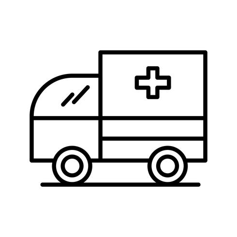Ambulance lijn zwart pictogram vector