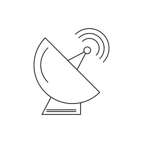 Satellietschotel lijn zwart pictogram vector