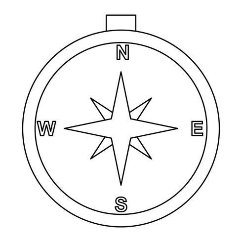 Kompaslijn zwart pictogram vector