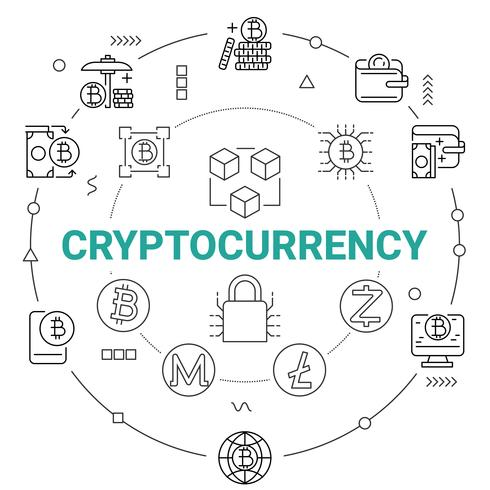 Cryptocurrency met Blockchain-netwerktechnologieachtergrond. Digitaal geldconcept. vector