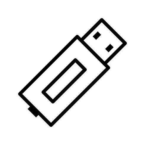 USB-lijn zwart pictogram vector