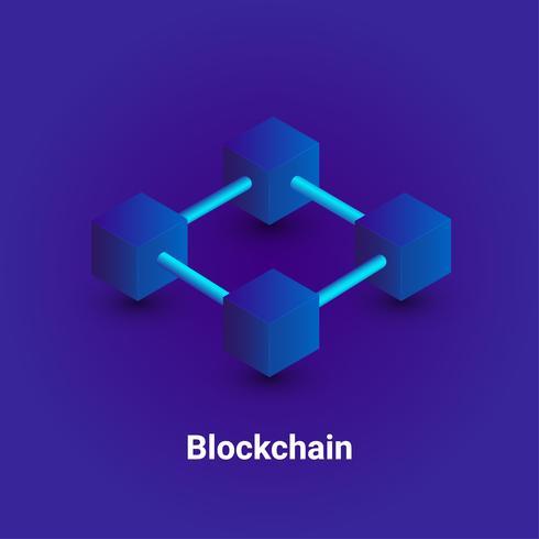 Cryptocurrency en blockchain isometrische achtergrond. vector