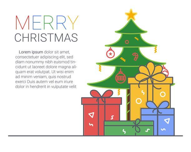 Vrolijk kerstfeest en een gelukkig nieuwjaar. xmas achtergrond. dunne lijn kunststijl. vector