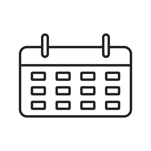 Kalender lijn zwart pictogram vector