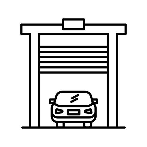 Auto in garage lijn zwart pictogram vector