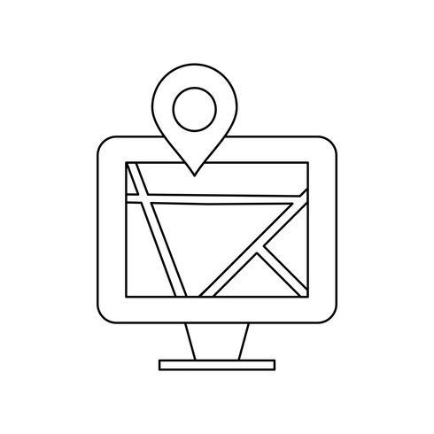 Kaart op monitor Lijn zwart pictogram vector
