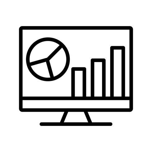 Analyse op scherm Lijn zwart pictogram vector