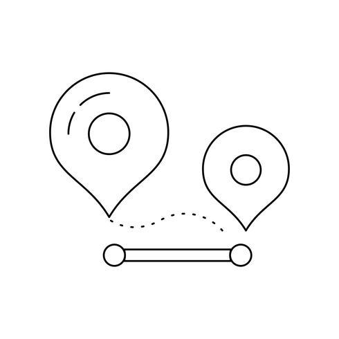 Routelijn zwart pictogram vector