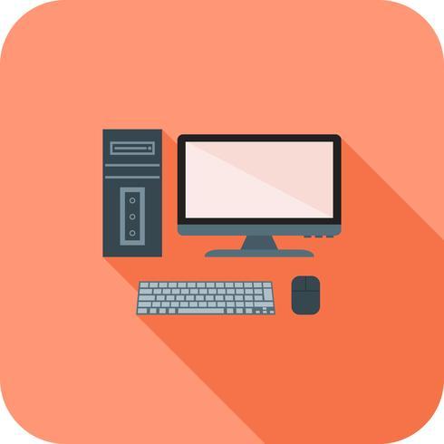 Computer plat lange schaduw pictogram vector
