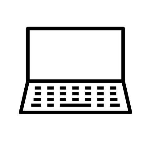 Laptop lijn zwart pictogram vector