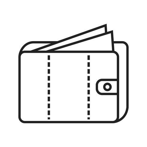 Geld in portefeuille Line Black Icon vector