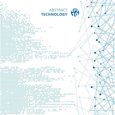 Abstracte technologie digitale gegevens vierkante blauwe patroon pixel met lijnen verbinden stippen op witte kleur achtergrond. vector